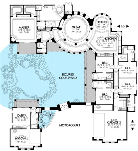 courtyard style house plans plan w16313md courtyard house plan with casita e