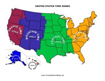 printable united states time zone map this printable map of the united states is divided into
