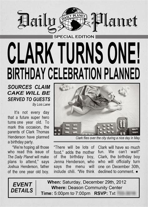 newspaper invitation template clark kent birthday design dazzle