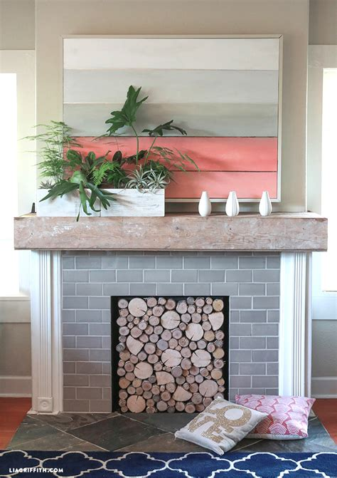 diy fireplace cover up diy birch wood fireplace cover lia griffith