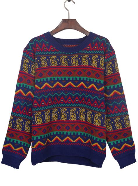 pattern for jumper sapphire blue tribal pattern round neck jumper sweater