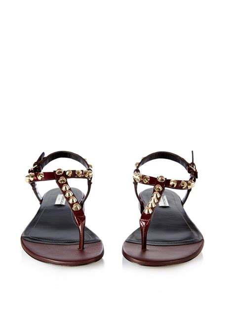 burgundy sandals balenciaga arena studded flat sandals in purple lyst