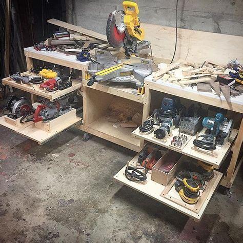 shelves  power tools    workbench