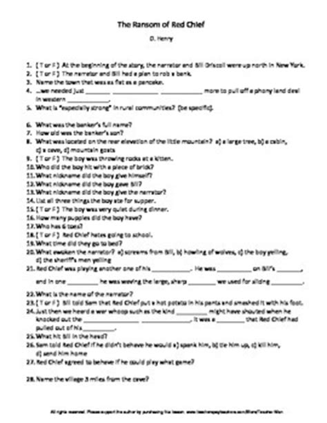 The Ransom Of Chief Worksheet Answers by The Ransom Of Chief Worksheets Mmosguides