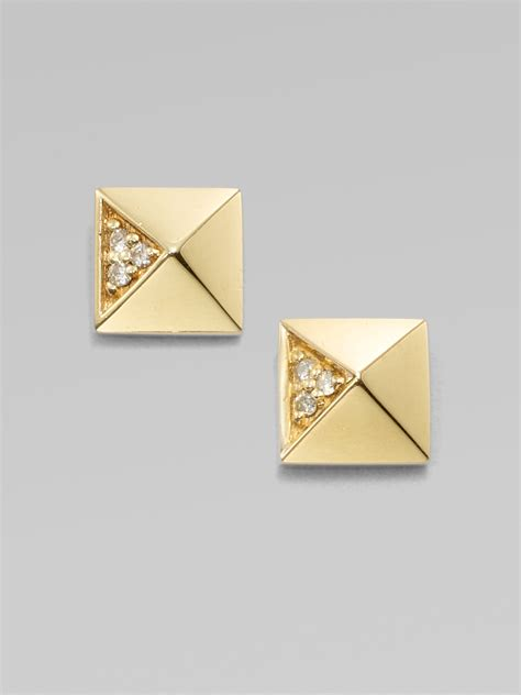 Gold Pyramid Studs sydney evan accented 14k gold pyramid stud