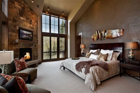 i love the color in this bedroom the bold red accent wall decorating with stone inside the home