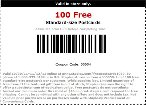 staples printable postcards the thrifty deafies staples 100 free postcards 10 free