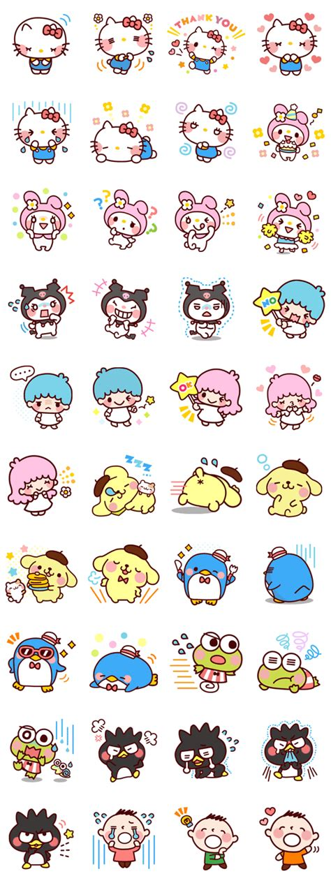 printable cartoon stickers sanrio characters animated warm and fluffy winter