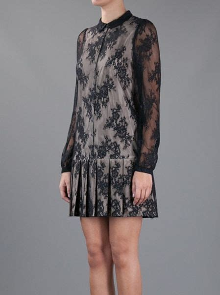 Mcqueens Mcq Lace Insert Evening Gown by Mcq By Mcqueen Pleated Lace Dress In Black Lyst