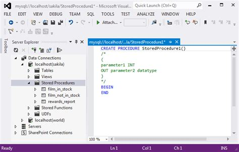 Sql Server Stored Procedure Template by Mysql Mysql For Visual Studio 5 7 Editing Stored