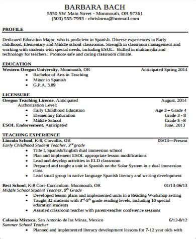 Elementary Resume by 10 Sle Elementary Resumes Sle Templates