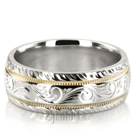 Engraved Wedding Rings by Chic Engraved Milgrain Wedding Band Fc100335 14k Gold