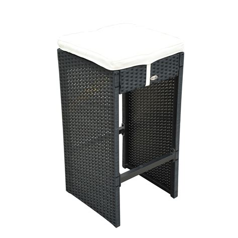 Wicker Bar Table Outsunny 7 Outdoor Rattan Wicker Bar Pub Table Chairs Patio Dining Set Black Outdoor