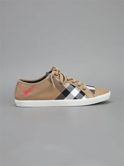 burberry sneakers burberry checked sneakers in brown lyst