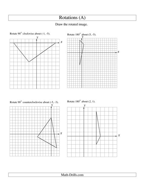 Geometry G Rotations Worksheet 1 by Construction Math Worksheets Rotation Of 3 Vertices