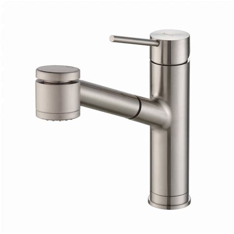 pull kitchen faucets stainless steel kraus oletto single handle pull out sprayer kitchen faucet in stainless steel with dual function