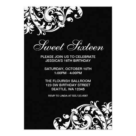 Black And White Party Invitations Templates Birthday Invitation Card Template Black And White