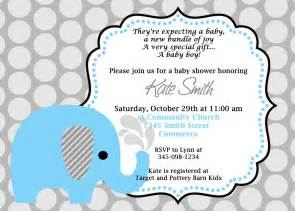 printable blue elephant baby shower invitation customized