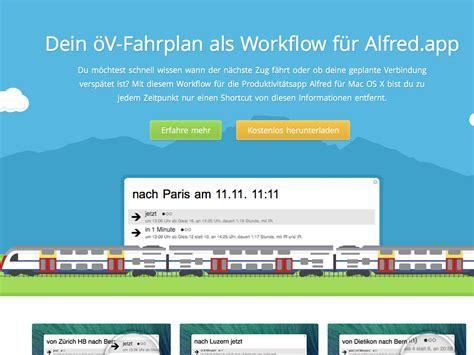 alfred app workflows showcase transport api