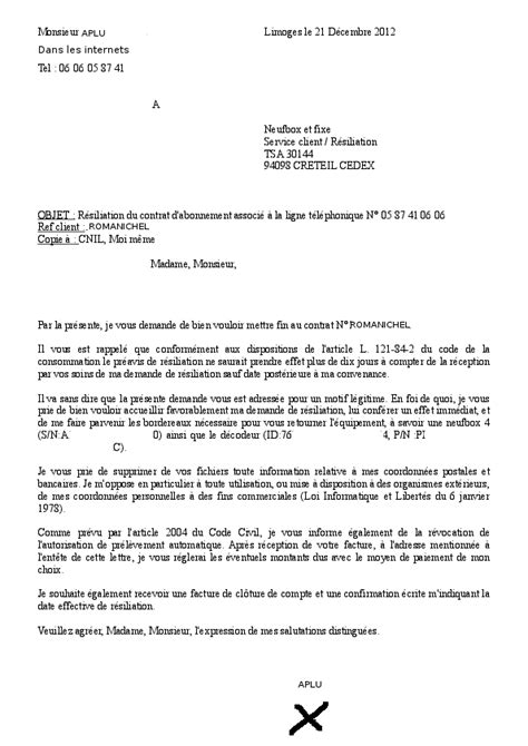 Lettre De Résiliation Free Portable Modele Resiliation Sfr Adsl Document