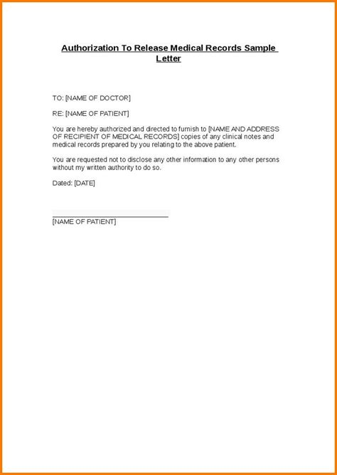 Letter Release Of Records Authorization Letter To Release Information Authorization Letter Pdf
