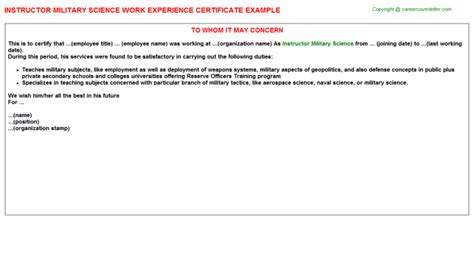 Experience Letter With Responsibilities Instructor Science Work Experience Certificate