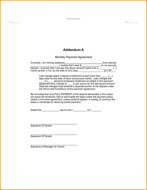 wage agreement template awesome photos of security deposit agreement business
