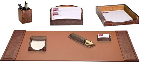 Office Desk Sets D2004 Brown Crocodile Embossed Leather 7 Desk Set