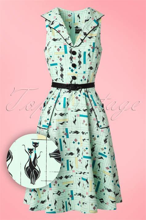 50s cats swing dress in mint