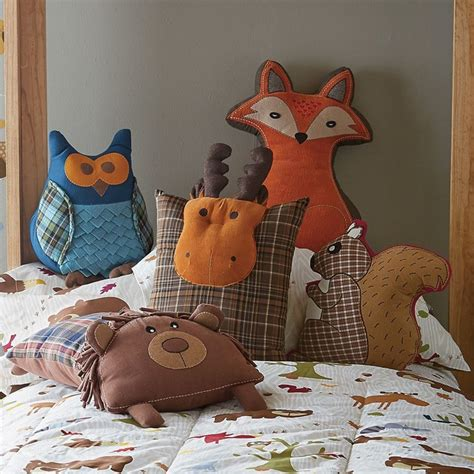 kids woodland bedroom woodland animal pillows contemporary kids bedding by