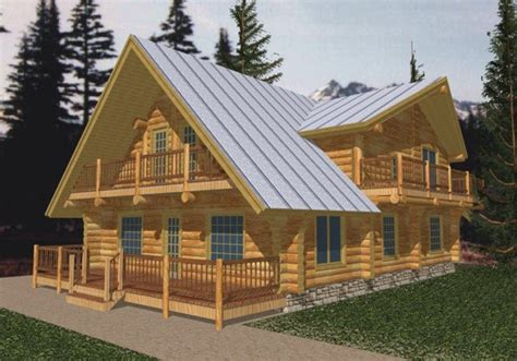 4 Bedroom, 3 Bath Log Cabin House Plan   #ALP 04YS