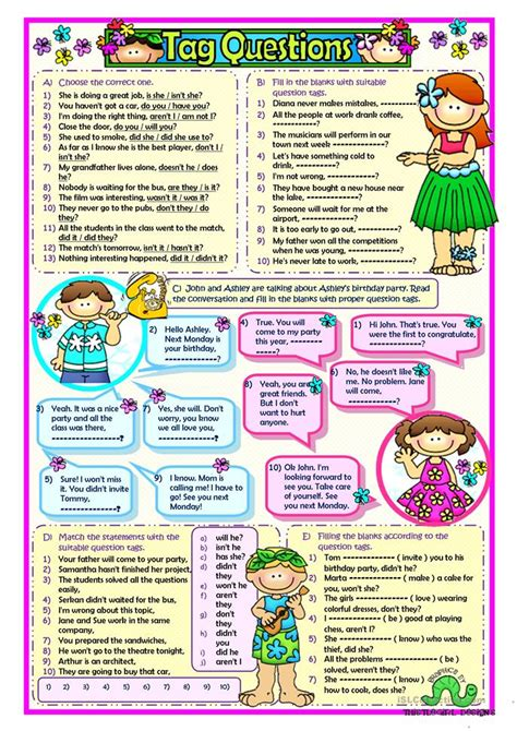 printable question tags question tags worksheet free esl printable worksheets