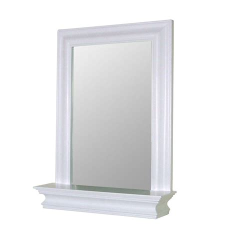White Framed Mirrors For Bathrooms Home Fashions Stratford 24 In X 18 In Framed Wall Mirror In White Hd16650 The Home Depot