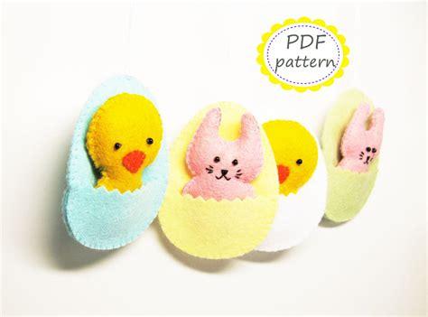 felt egg pattern easter decor pattern felt ornaments egg chicken bunny diy