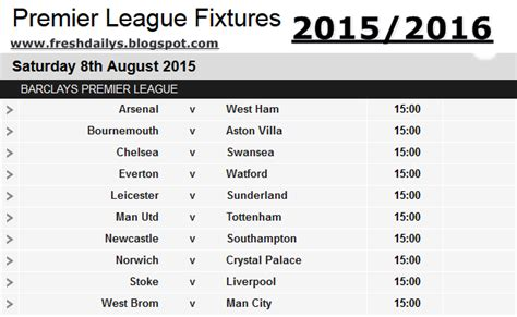 epl latest results english premier league fixtures 2015 2016 video search
