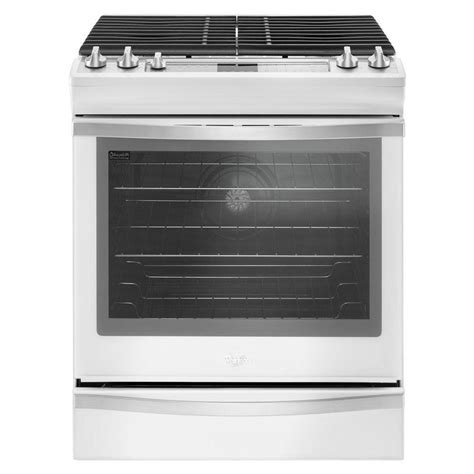 whirlpool 5 8 cu ft slide in gas range with center oval