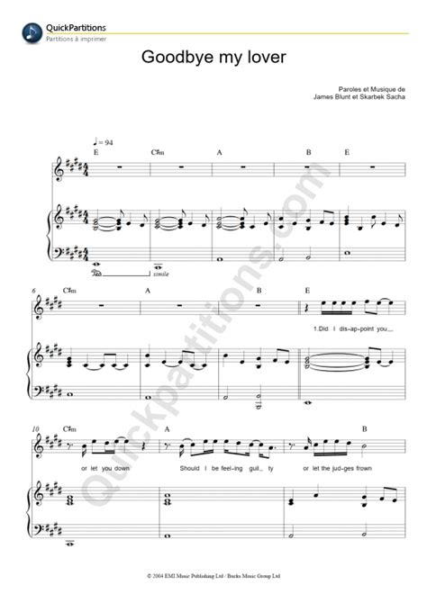 tutorial piano goodbye my lover partition piano goodbye my lover james blunt partition