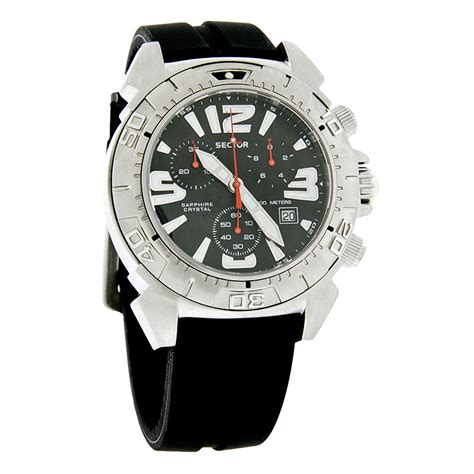 sector diver mens swiss chronograph rubber band