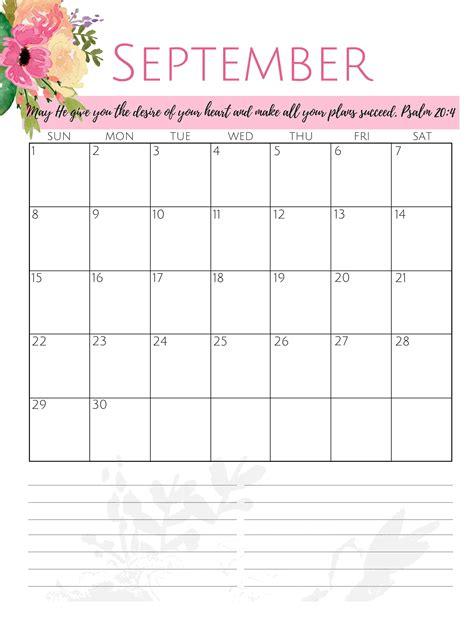 cute september  calendar  printable calendar shop