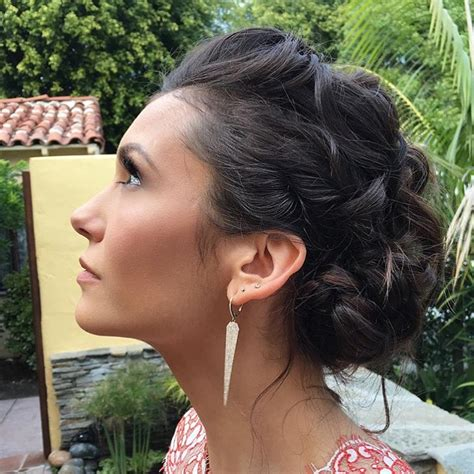 updo hairstyles nina get the look nina dobrev s twisted updo at the golden