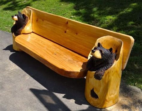bears bench chainsaw carved black bear bench quot one of a kind quot wood carving sculptu