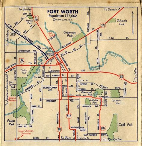 ft worth texas map fort worth map c1940 whar ah m from fort worth
