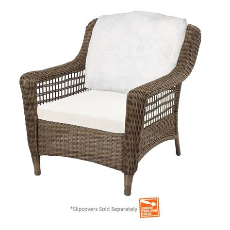 Hton Bay Spring Haven Grey Wicker Patio Chair With Patio Furniture Inserts