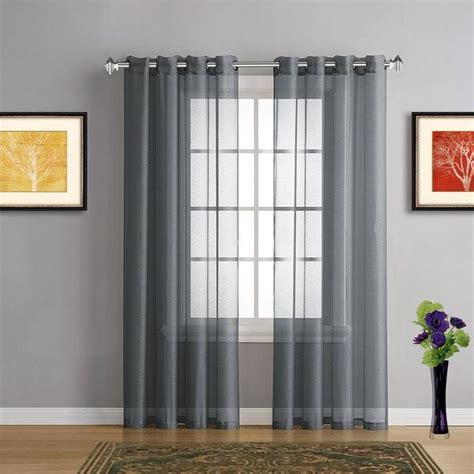 Charcoal Gray Curtains Designs Pair Of Charcoal Grey Faux Linen Sheer Window Curtains W Grommets Warmhomedesigns