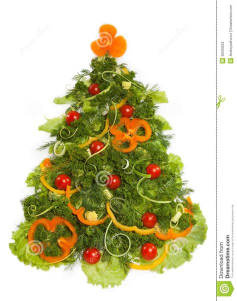 christmas tree made of different vegetarian food stock