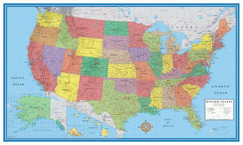 usa map poster large 48x78 united states usa us classic elite large wall map