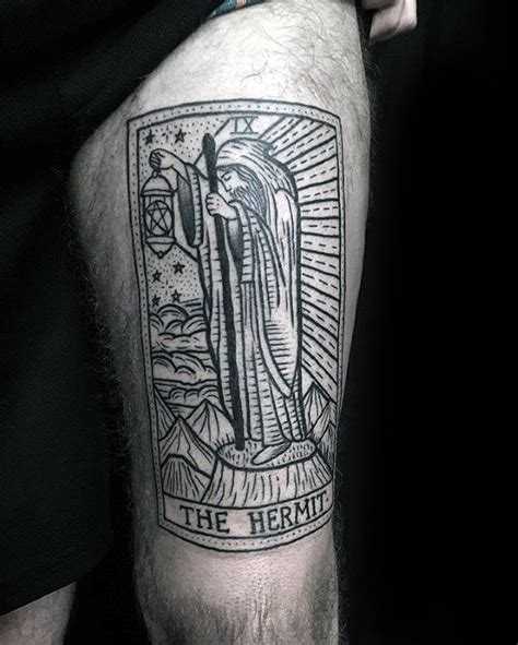 tarot card tattoo designs thigh the hermit card cool tarot designs