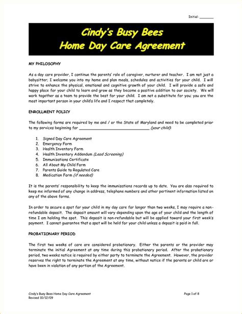 childminding policies templates the 25 best daycare contract ideas on