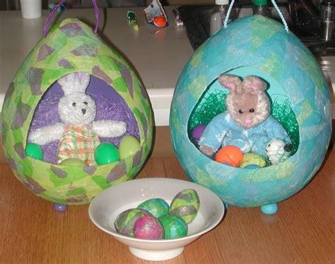 Paper Mache Crafts For Preschoolers - block press easter egg basket tutorial
