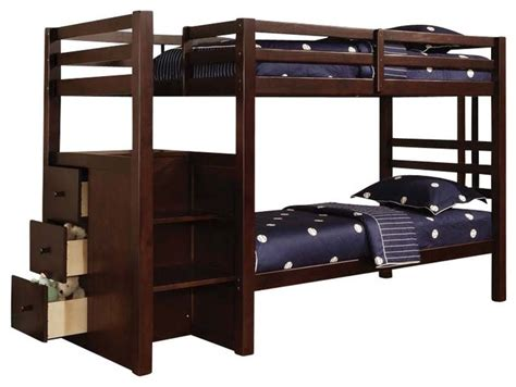Safest Bunk Beds Safe Sturdy Espresso Youth Bunk Bed Storage Stairway Side Drawers Contemporary